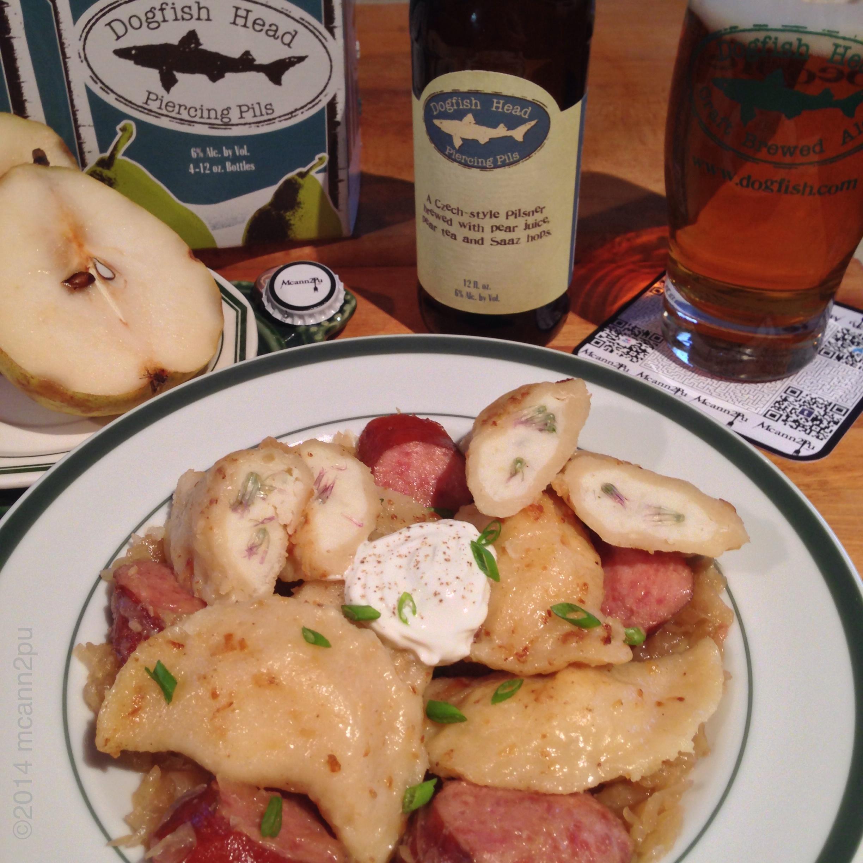 Kielbasa and Potato-Chive Pierogi