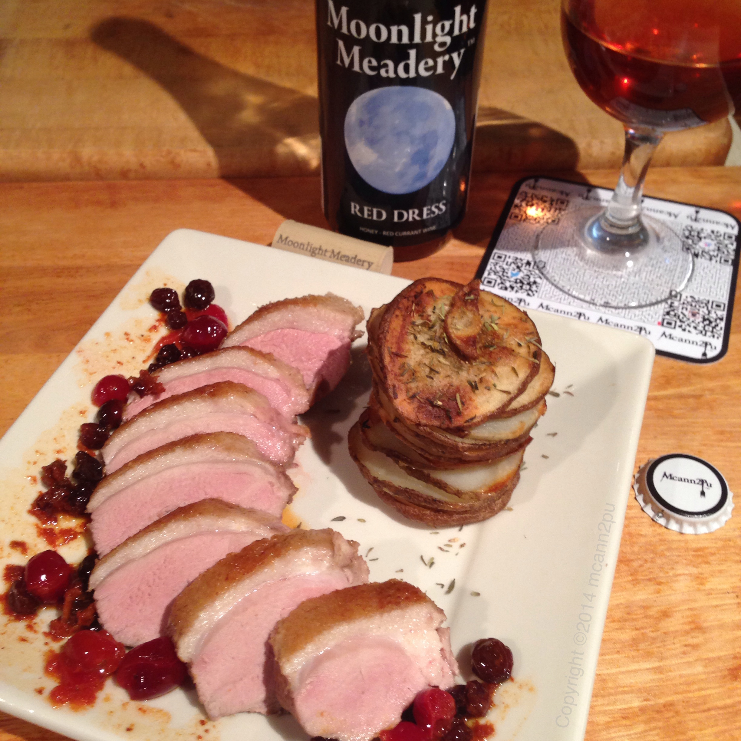 Current-Cranberry Duck Breast and Thyme Potato Stacks