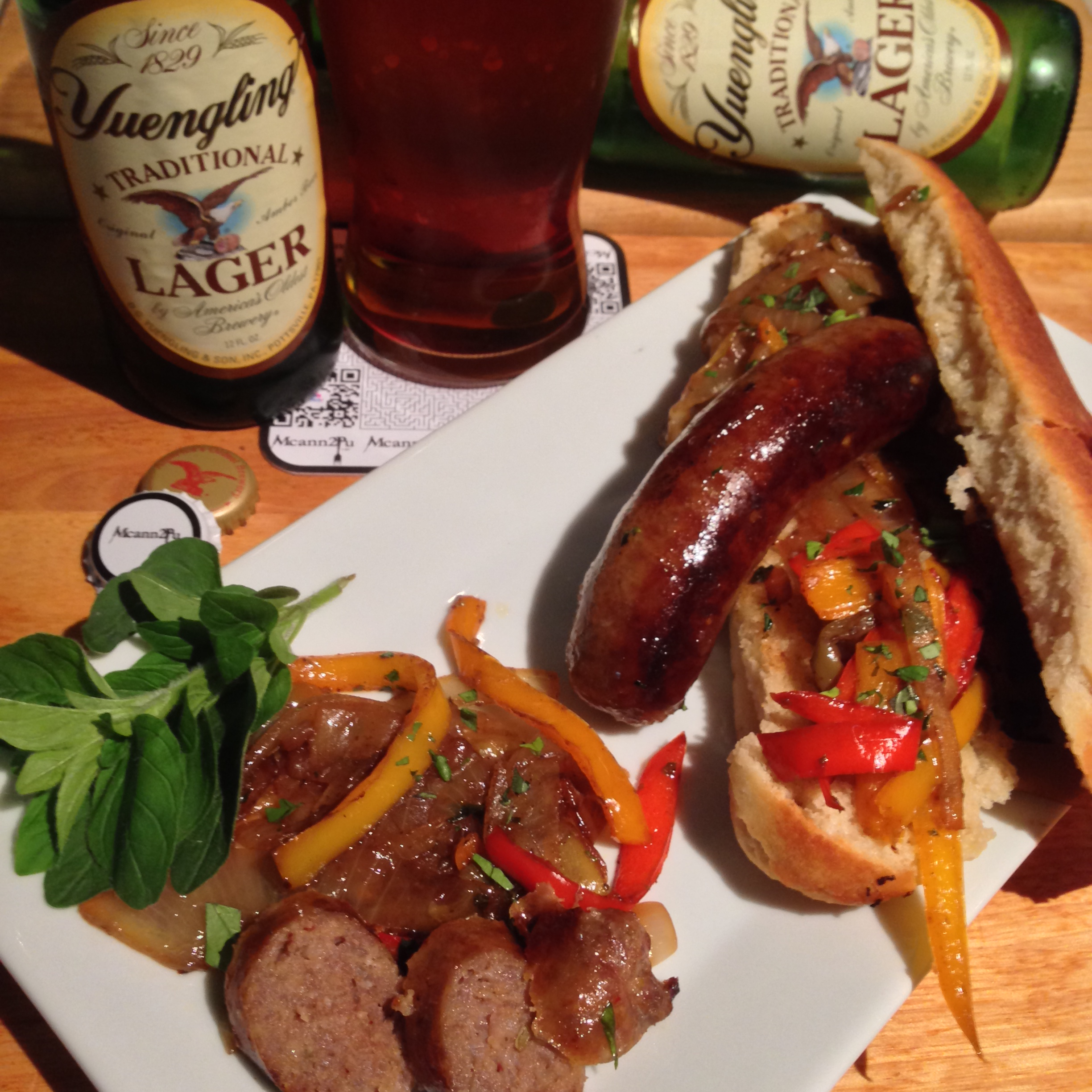 Sausage with Peppers and Onions Sandwich