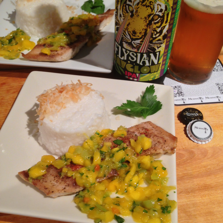 Blackened Mahi Mahi with Mango Salsa and Coconut Rice