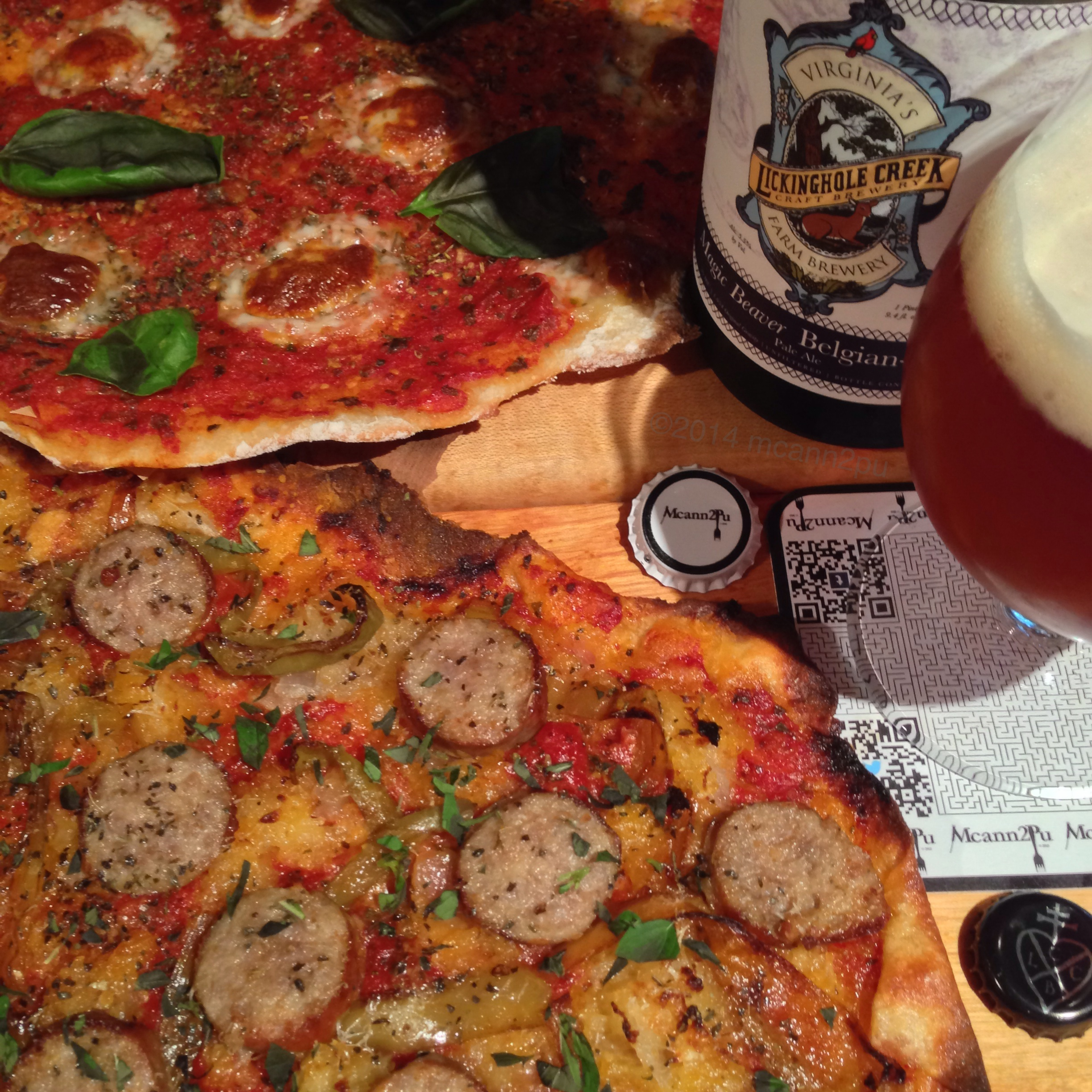 Thin Crust Margherita and Sausage and Pepper Pizzas