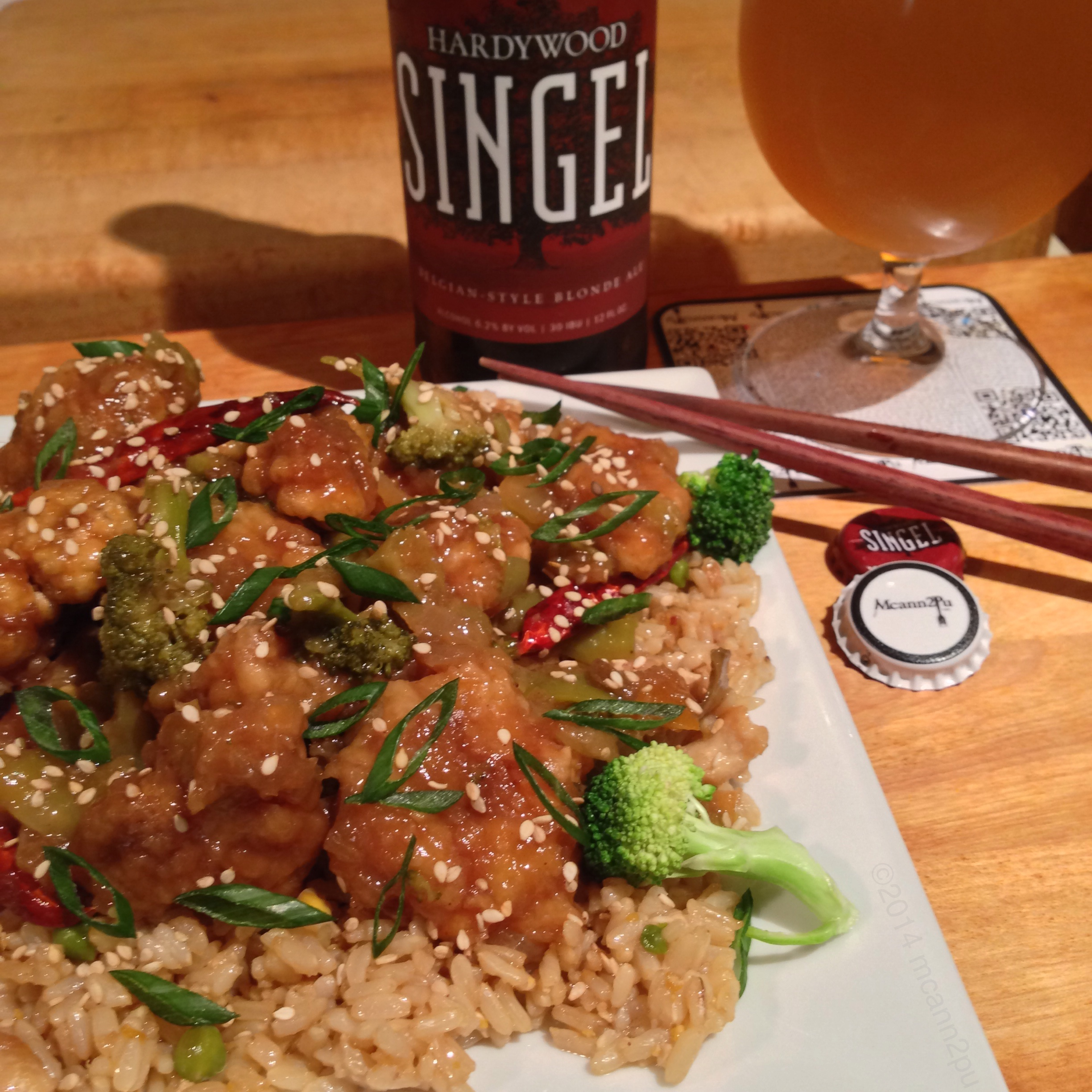 General Tso's Chicken on Chicken Fried Rice