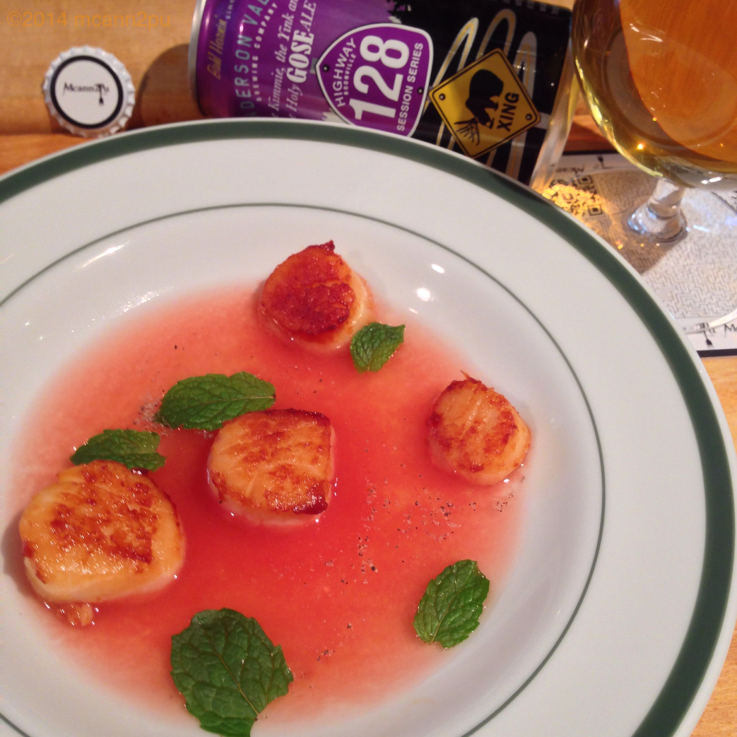 Seared Scallops Served in Tomato Water
