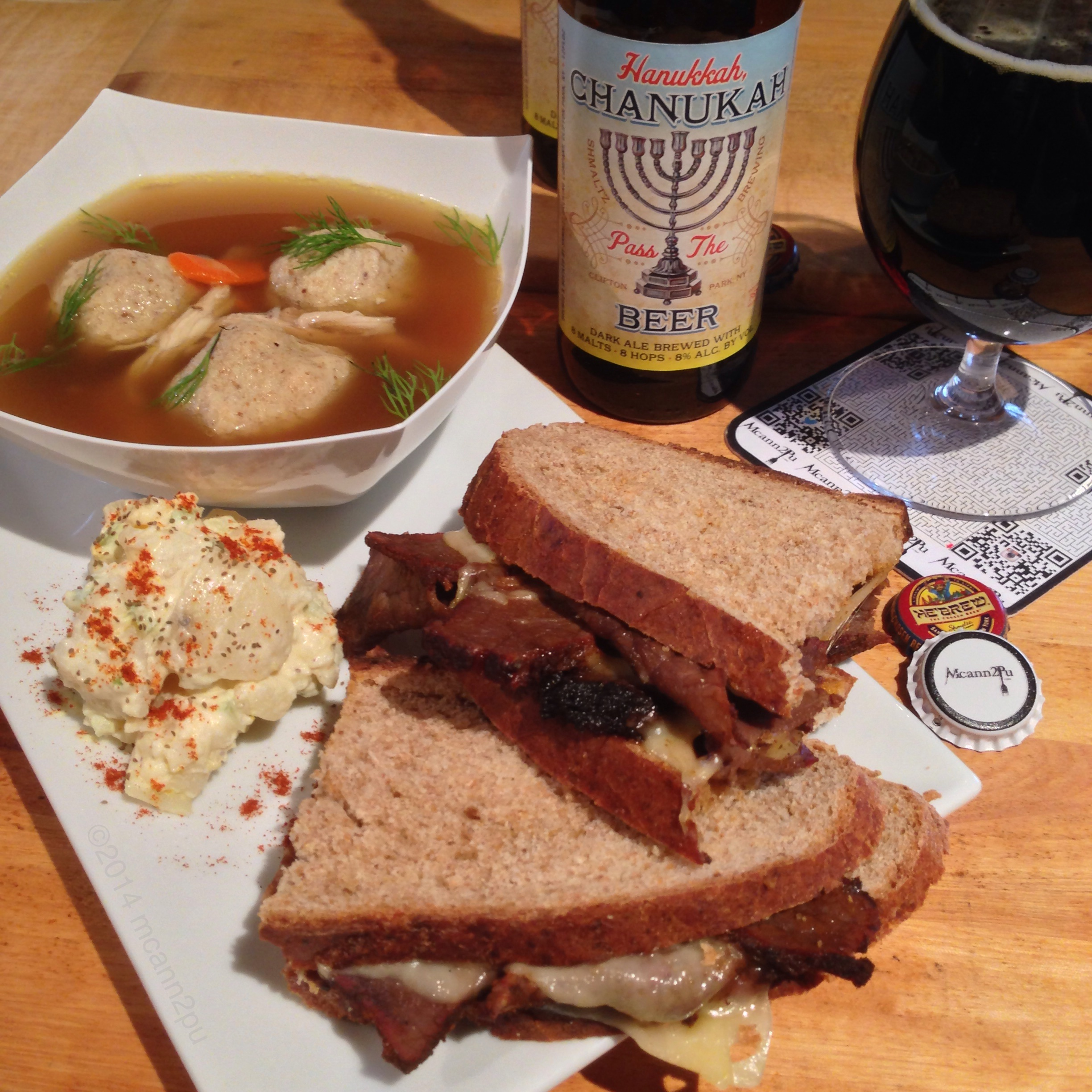 Pastrami on Rye Sandwich with Matzo Ball Soup for Hanukkah