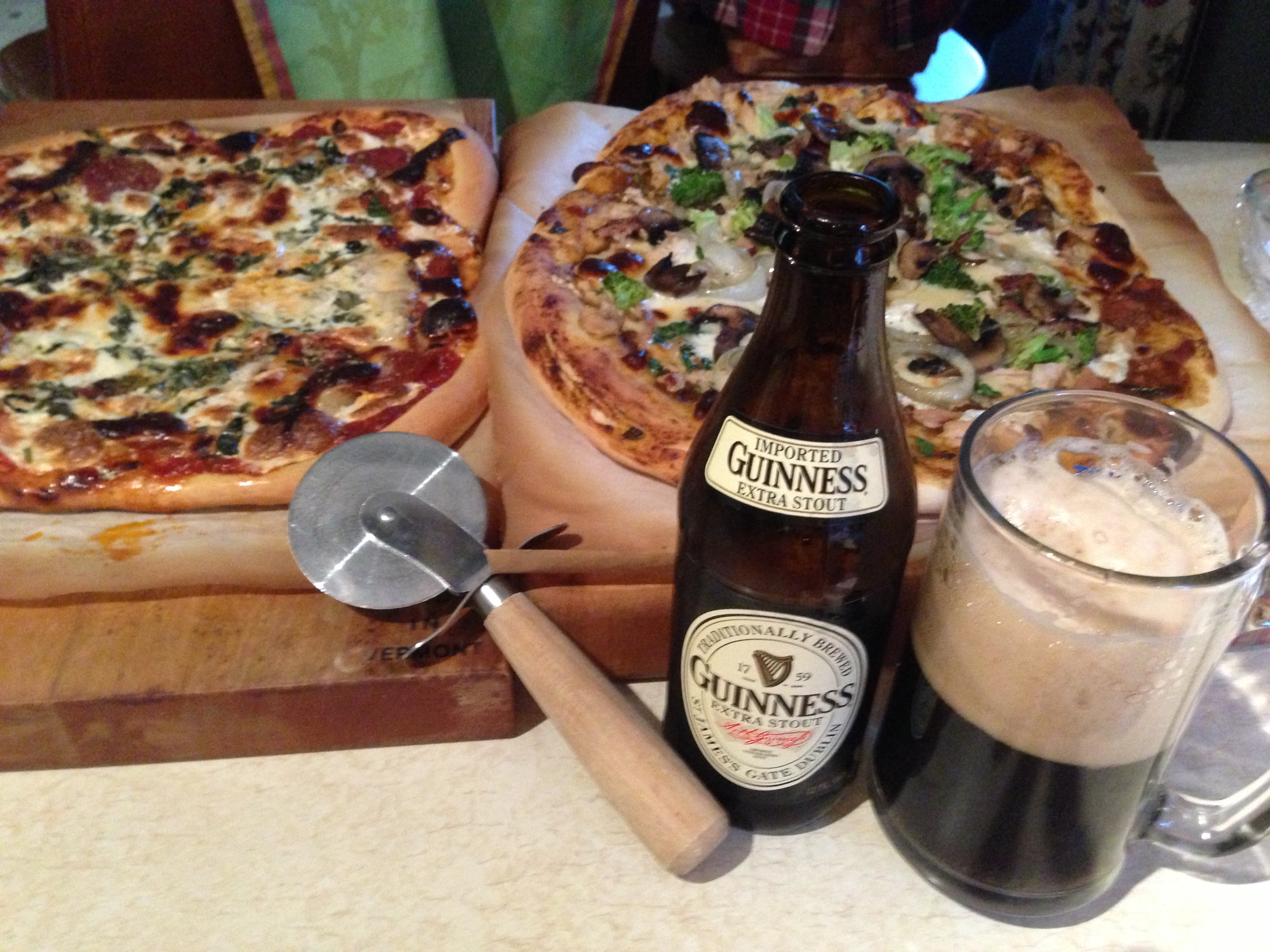 Barbecue Chicken  and Pizza Margarita With Beer.