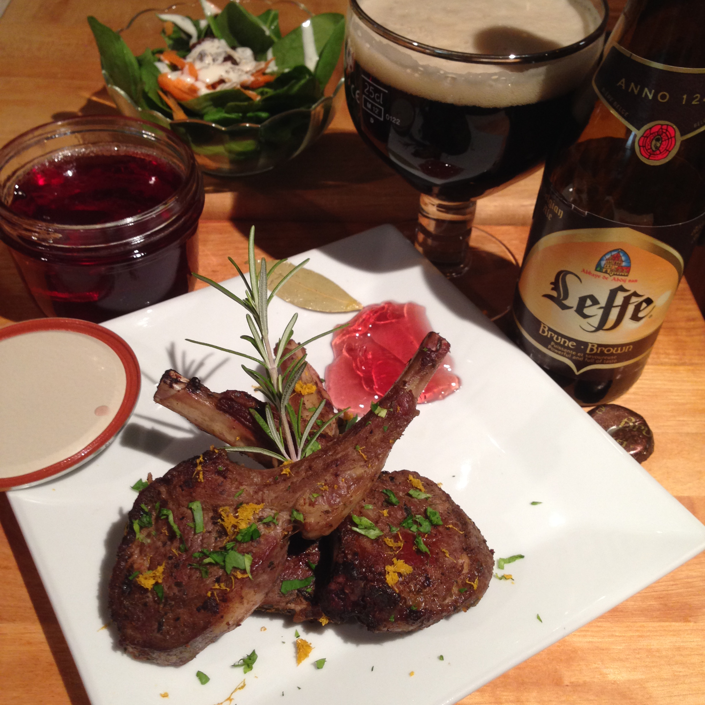 Ras El Hanout Lamb Rib Chops with homemade Red Wine and Bay Leaf Jelly