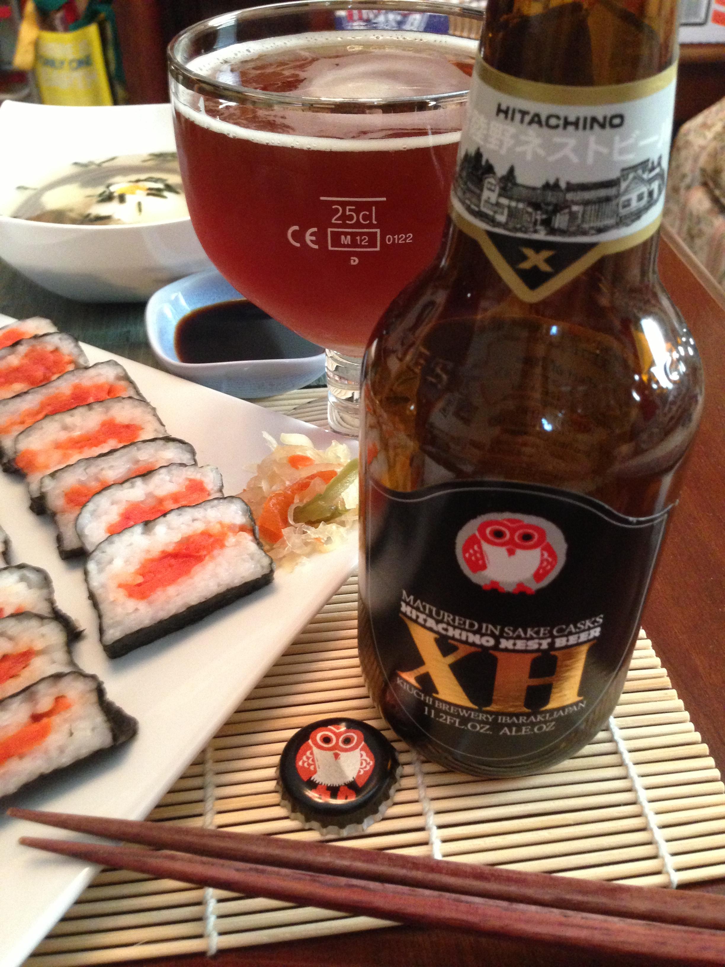 Salmon Oshizushi and Nigiri Sushi with Tsukimi Soba Noodle Soup Close Up