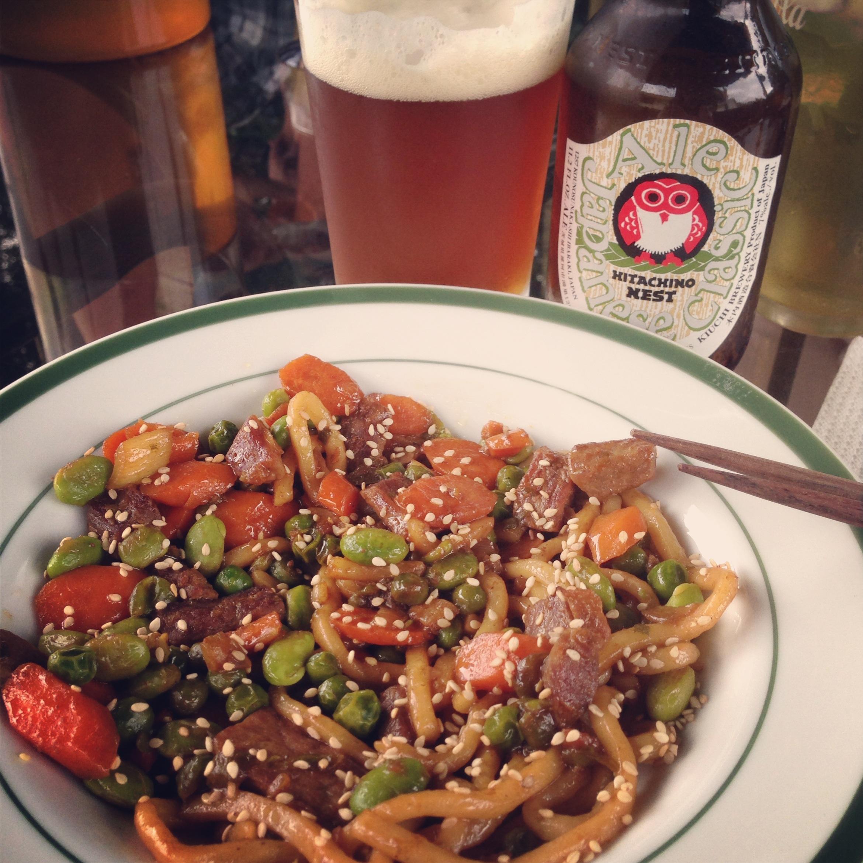 Udon Noodle Beef Stir Fry