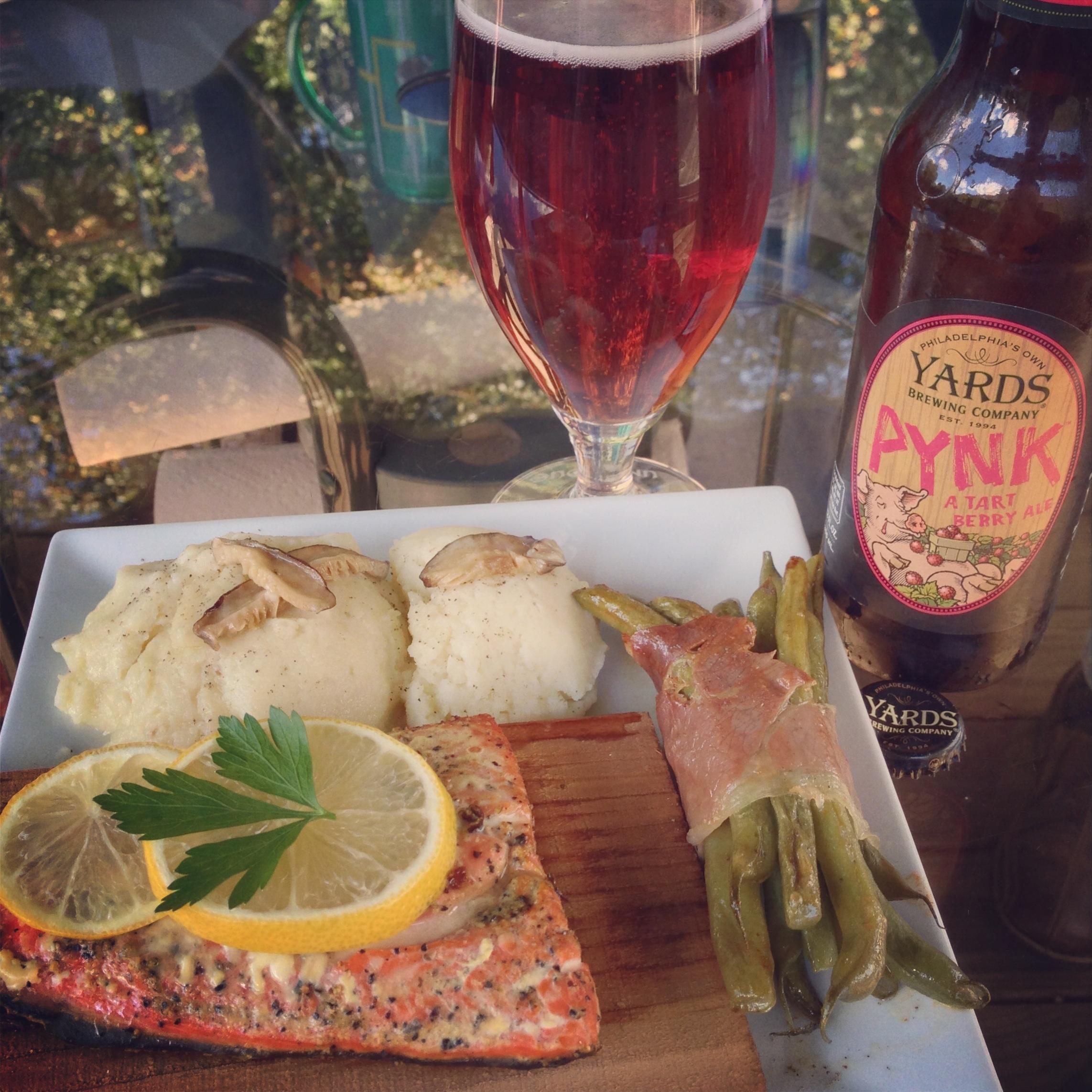 Cedar Plank Grilled Salmon, Pommes de Terre Forestieres, and Prosciutto Green Bean Bundles