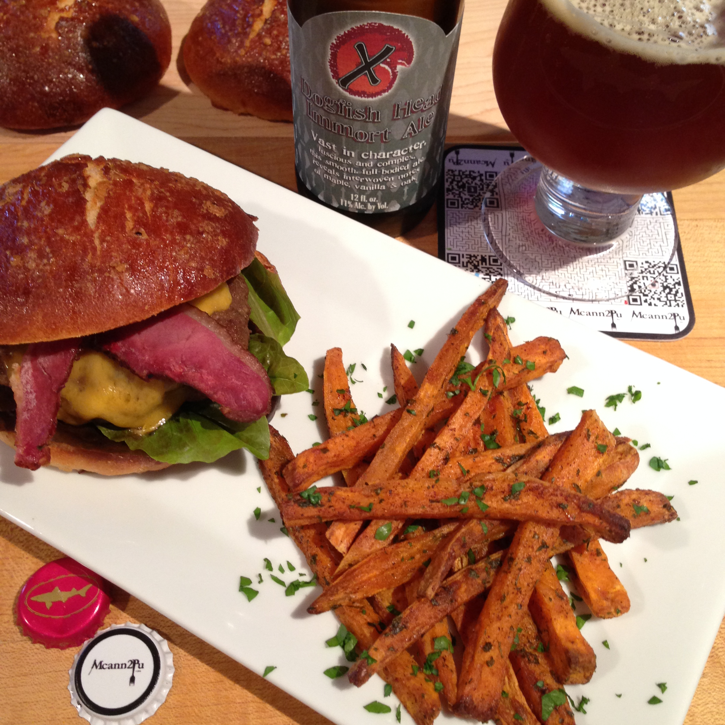 Maple Brioche Burger with Maple Cured Duck Bacon and Sweet Potato Fries