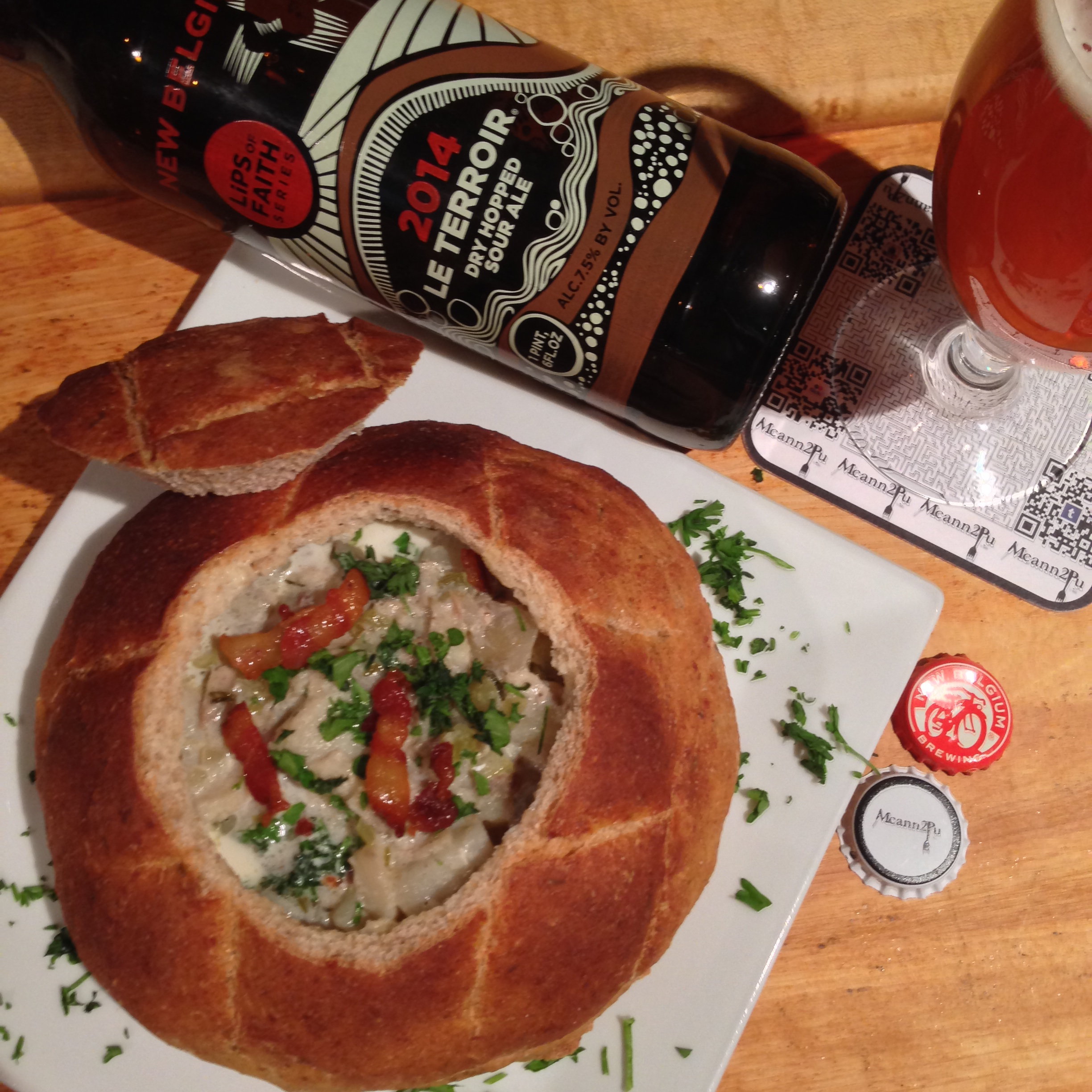 Fish Chowder in a Bread Bowl