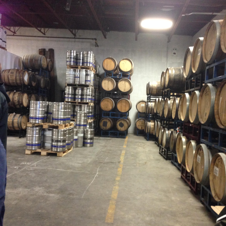 Barrel Room at Night Shift Brewing