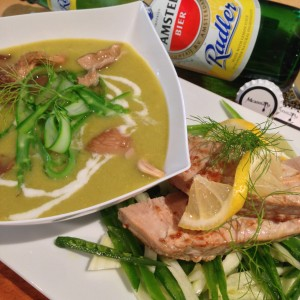 Seared Tuna Steak over Fennel-Sugar Snap Slaw with Lemon-flavored Asparagus Avgolemono Soup