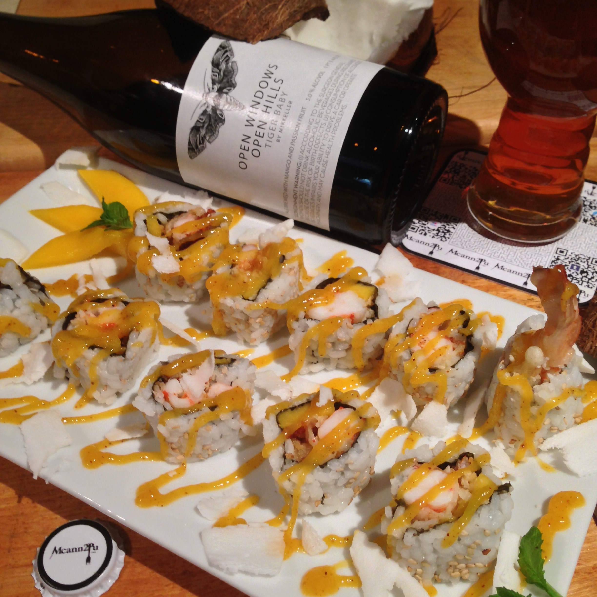 Coconut Shrimp Tempura Inside-Out Sushi Roll with Spicy Mango-Chili Sauce
